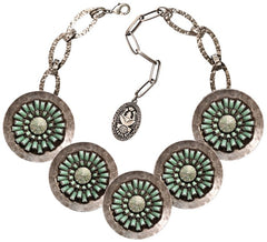 necklace collier Archaic Love Oracle green antique silver large