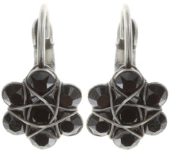 earring eurowire 70´s Circles black antique silver