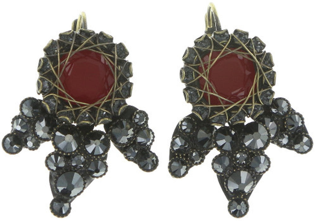 earring eurowire Queen of Elves black/red antique brass