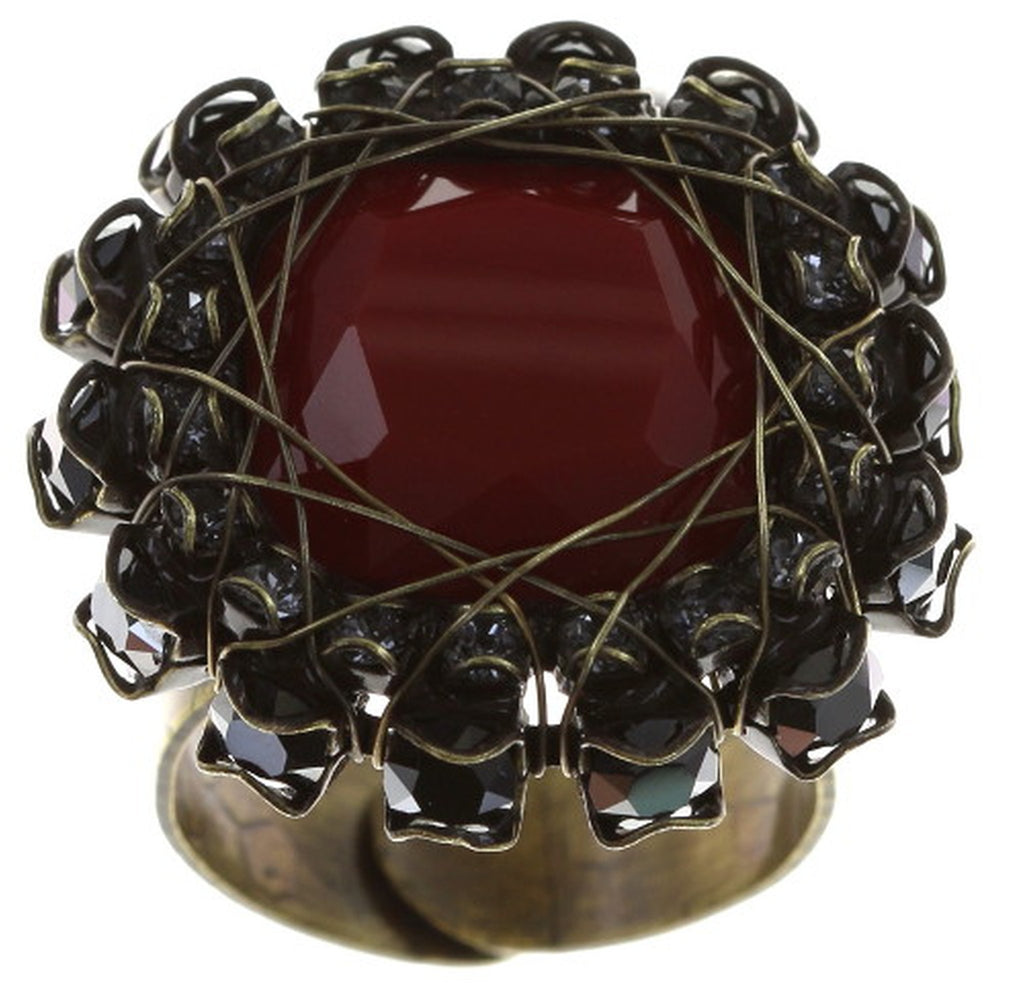 ring Queen of Elves black/red antique brass 16 mm