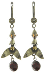 earring dangling Queen of Elves brown antique brass