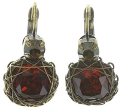 earring eurowire Queen of Elves brown antique brass