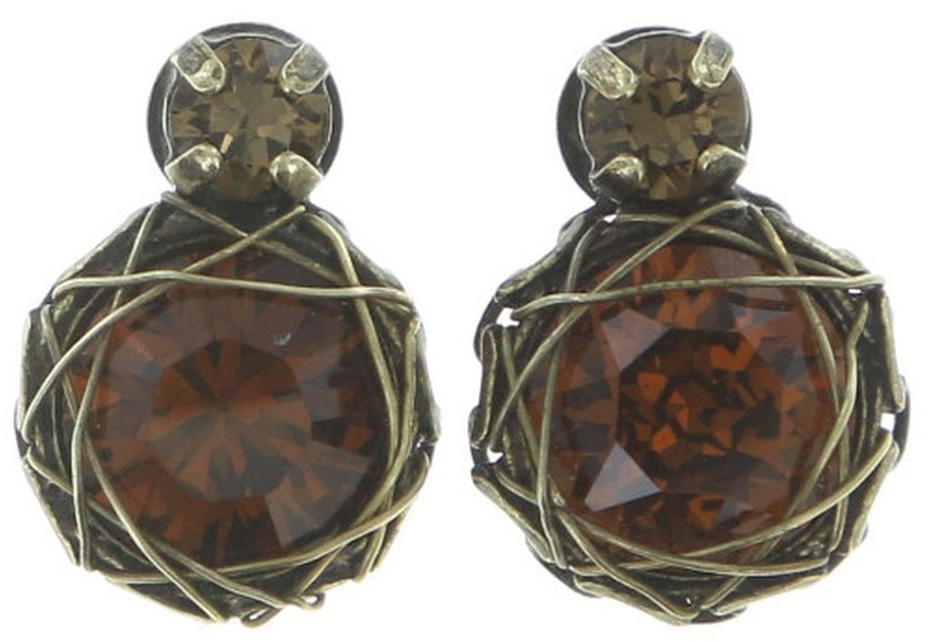 earring stud Queen of Elves brown antique brass