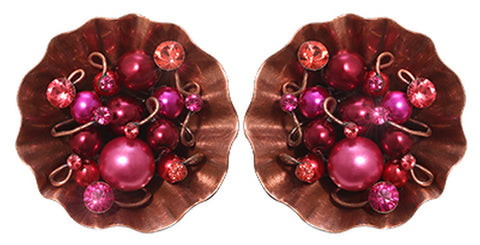 earring eurowire Cupcake pink antique copper