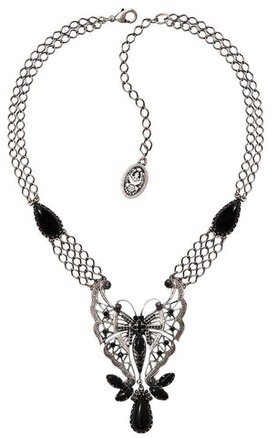 necklace Fly Butterfly black antique silver