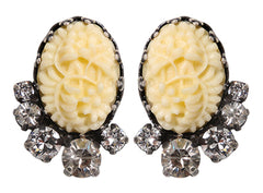 earring stud Liam white antique silver