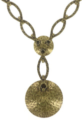 necklace-Y Archaic Love Oracle white antique brass large, small