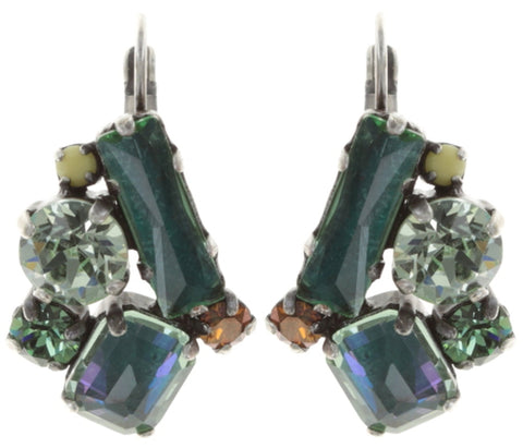 earring eurowire To Katharine With Love II green antique silver