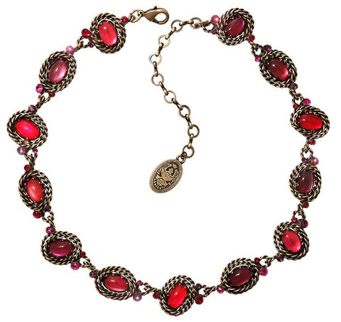 necklace Twisted Lady red antique brass