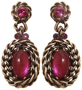 earring stud dangling Twisted Lady red antique brass