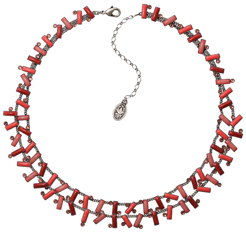 necklace Small Tones Beating red antique silver