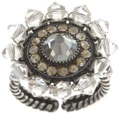 ring Maharani beige antique silver small