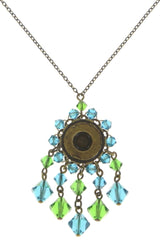 necklace pendant Maharani blue/green antique brass small