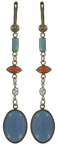 earring dangling Ethnic Mosaic multi antique brass