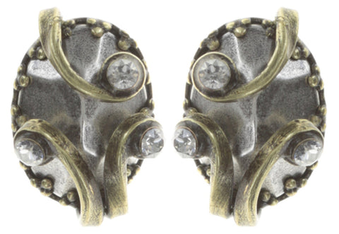 earring stud Dragon Shield white antique brass/antique silver