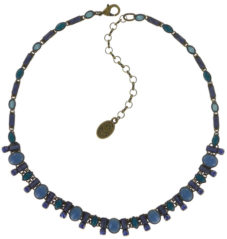 necklace Ethnic Mosaic blue/green antique brass