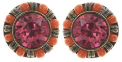earring stud Kaleidoscopic orange antique brass