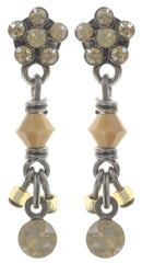 earring stud dangling Kaleidoscopic brown antique silver