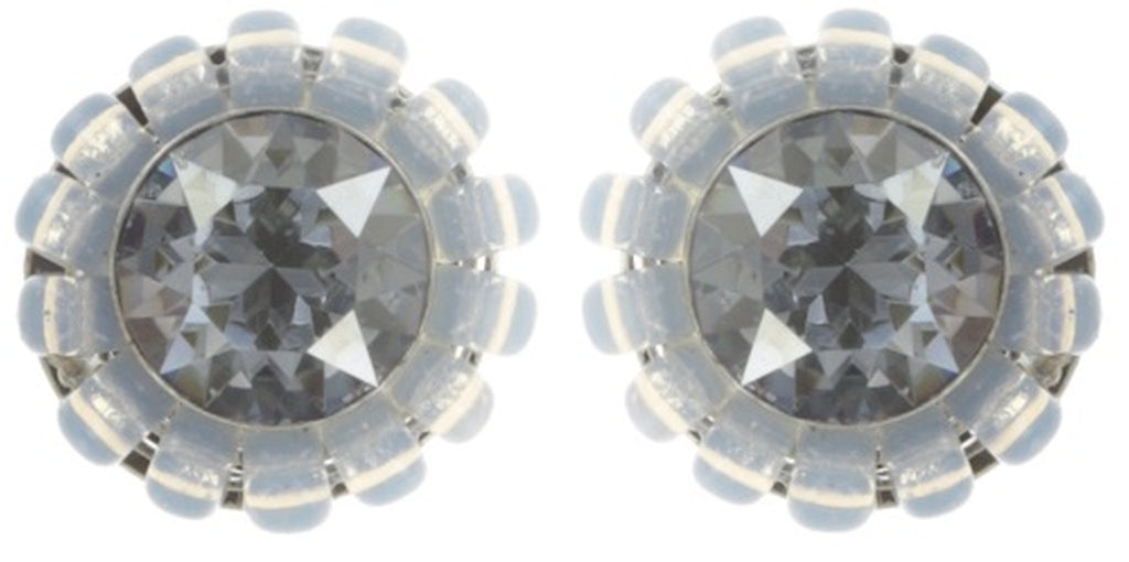 earring stud Kaleidoscopic white antique silver