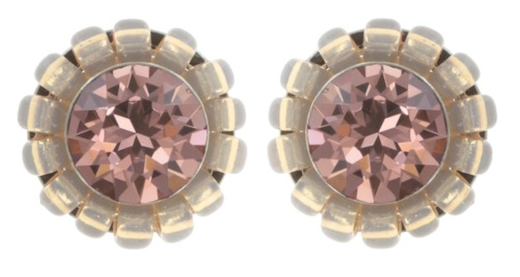 earring stud Kaleidoscopic pink antique silver
