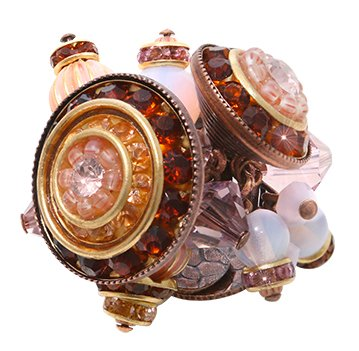 ring Oriental Bliss pink antique copper