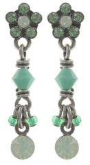 earring stud dangling Kaleidoscopic green antique silver