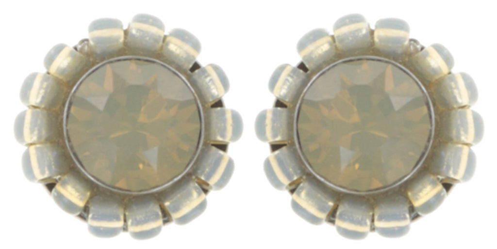 earring stud Kaleidoscopic brown antique silver