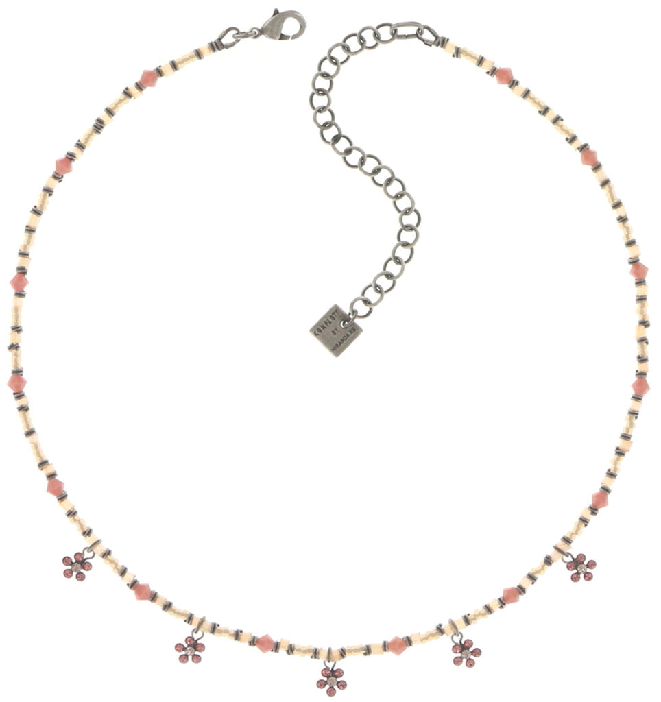 necklace Kaleidoscopic pink antique silver