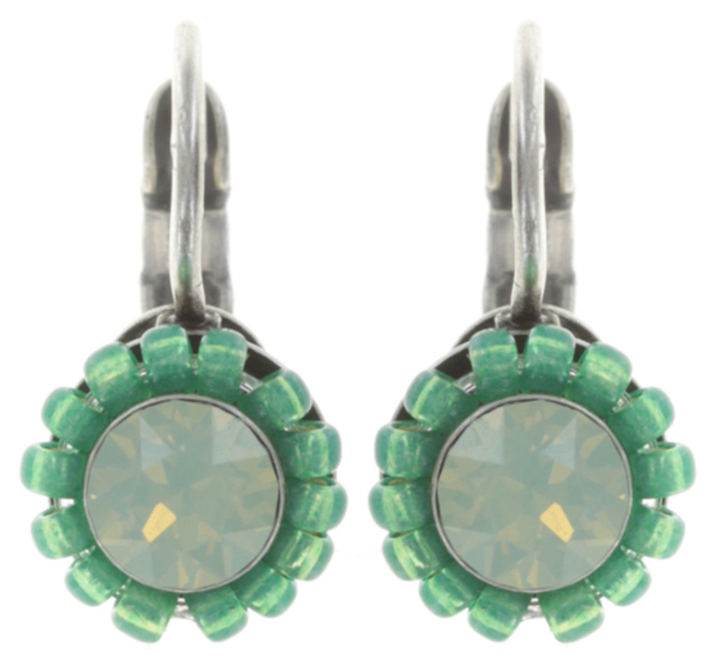 earring eurowire Kaleidoscopic green antique silver