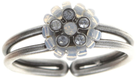 ring Kaleidoscopic white antique silver