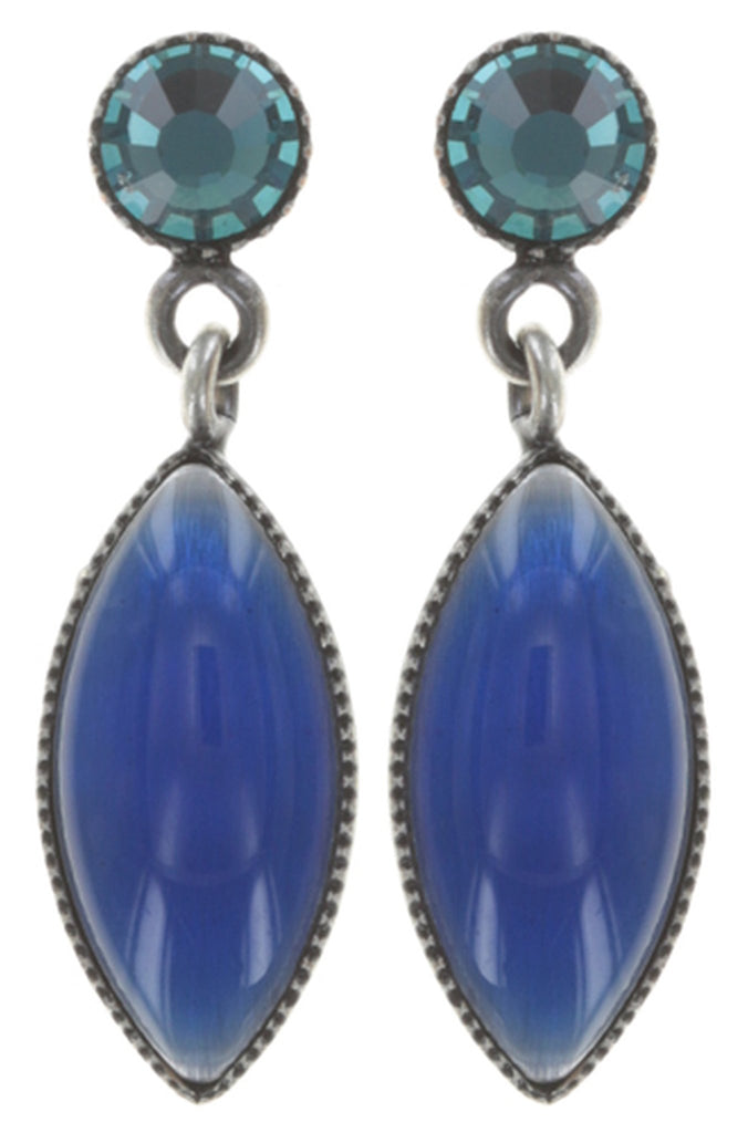 earring stud dangling Dance with Navette blue antique silver