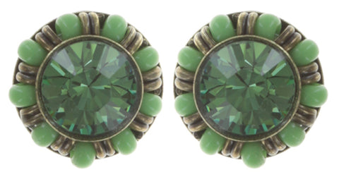 earring stud Kaleidoscopic green antique brass
