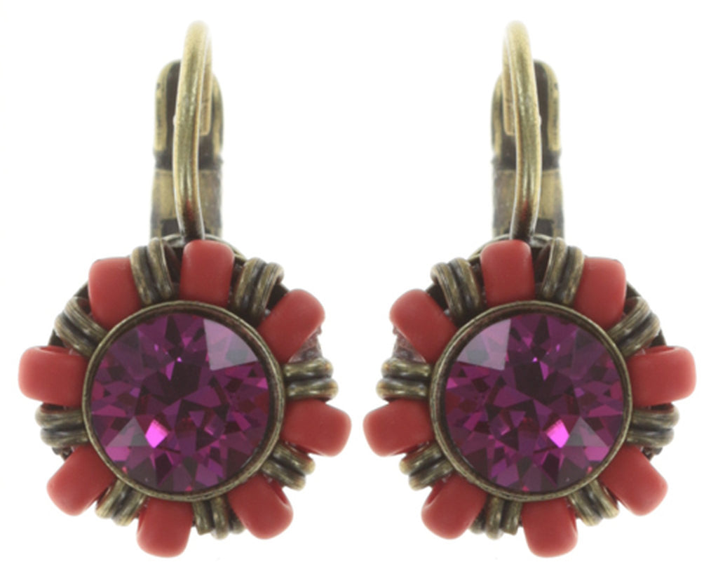 earring eurowire Kaleidoscopic pink/orange antique brass