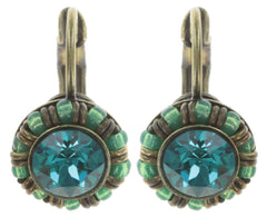 earring eurowire Kaleidoscopic green antique brass
