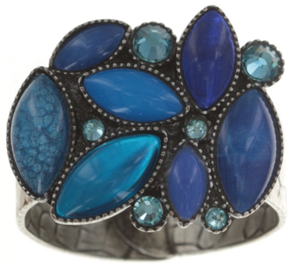 ring Dance with Navette blue antique silver
