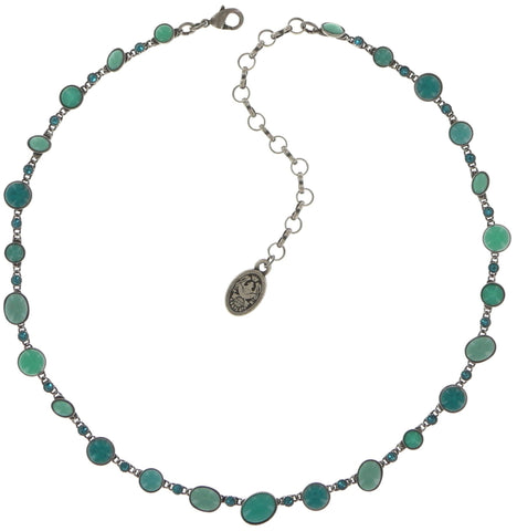 necklace Oval in Concert green antique silver