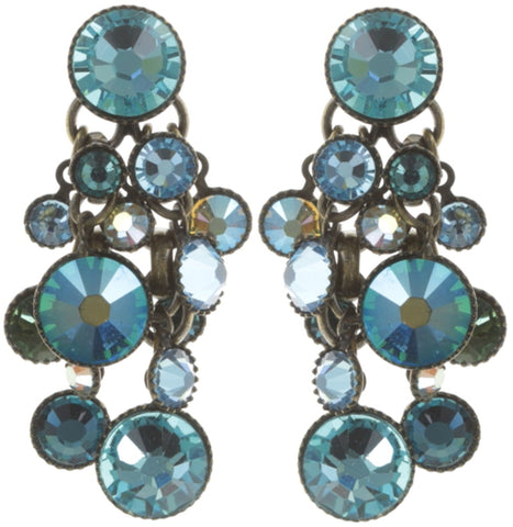 earring stud dangling Waterfalls blue antique brass