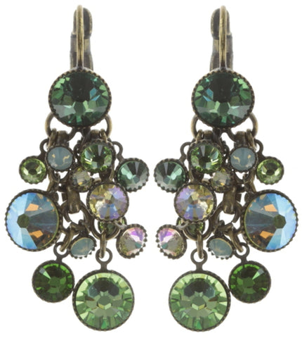 earring eurowire dangling Waterfalls green antique brass
