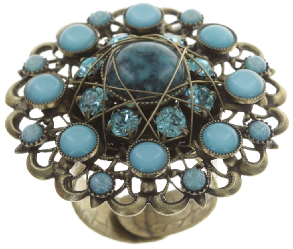 ring Enchanted blue antique brass