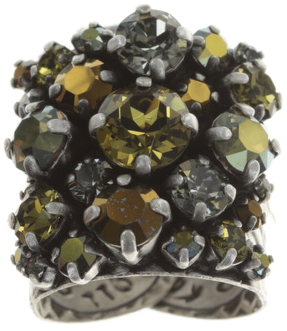 ring Ballroom brown/green antique silver