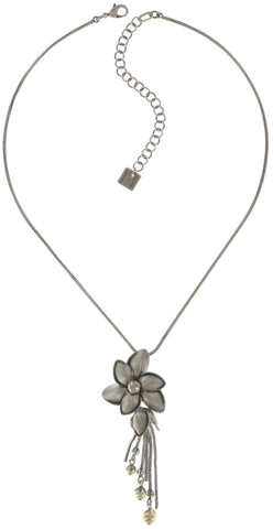 necklace pendant Blossoms of the Past beige antique silver