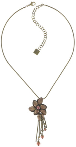 necklace pendant Blossoms of the Past pink antique brass