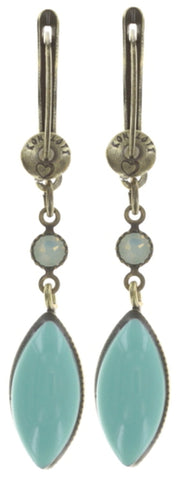 earring dangling Dance with Navette green antique brass