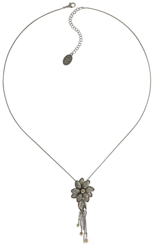necklace pendant (long) Blossoms of the Past beige antique silver