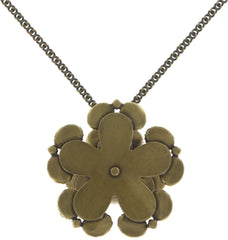 necklace pendant (long) Orchid Hybrid multi antique brass