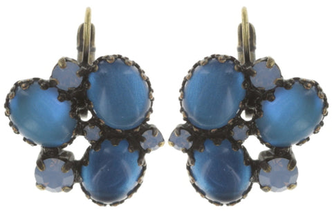 earring eurowire Orchid Hybrid blue antique brass