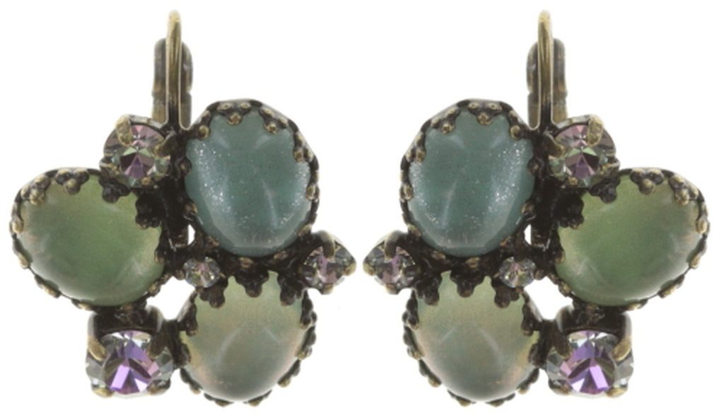 earring eurowire Orchid Hybrid green antique brass
