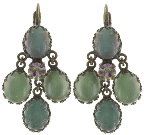 earring eurowire dangling Orchid Hybrid green antique brass