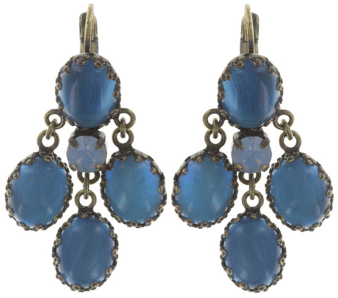 earring eurowire dangling Orchid Hybrid blue antique brass