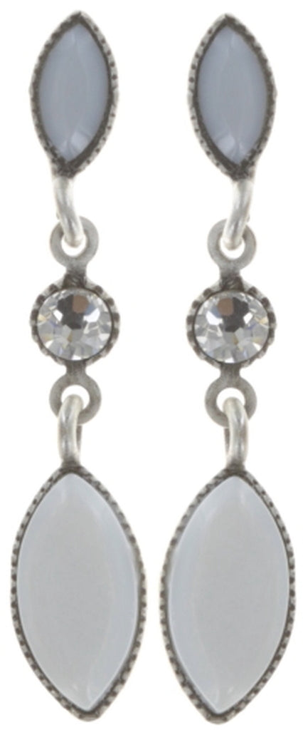 earring stud dangling Dance with Navette white shiny silver